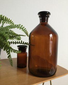 Grand flacon ambré vintage de laboratoire Prolabo 1150cl