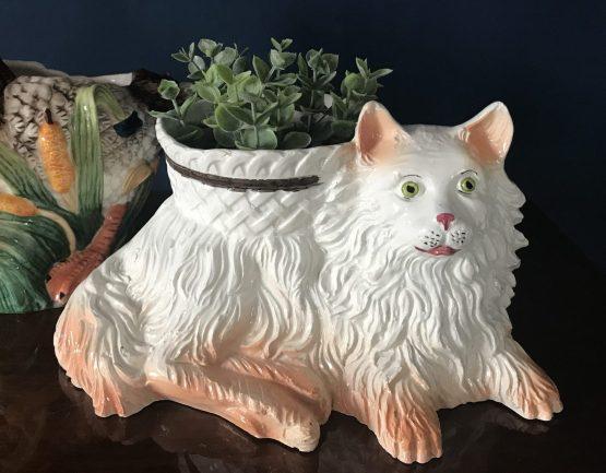 cache pot chat en barbotine