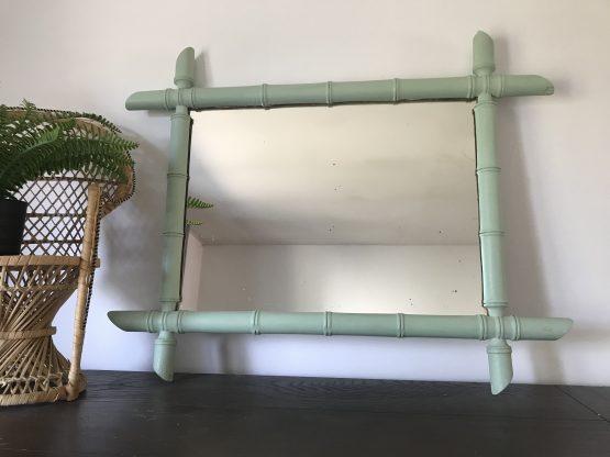 miroir bambou vintage vert mint