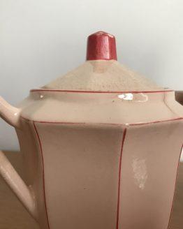 cafetière et sucrier rose et rouge digoin sarreguemines