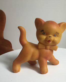 jouet vintage pouet chat orange