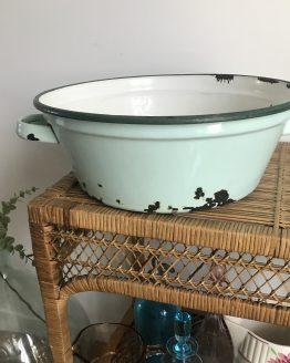 bassine ancienne en tôle émaillée vert mint