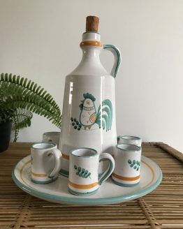Service à liqueur en céramique motif de coq dans un style très Vallauris