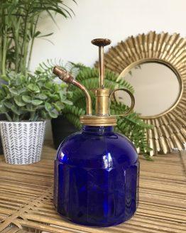 Vaporisateur ancien ou burette en verre Bleu Cobalt