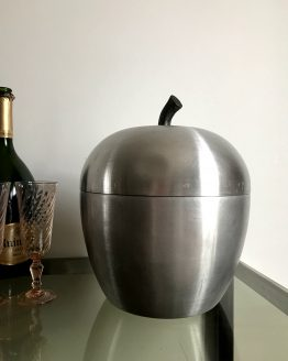 GROSSE POMME EN ALU BROSSE SEAU A CHAMPAGNE OU A GLACE MADE IN ITALY vers 1970