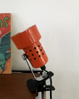 lampe spot à pince orange seventies