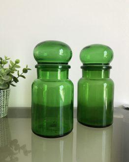 Paire de Bocaux vintages ronds verts style apothicaire Made In Belgium