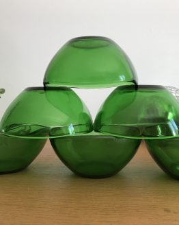 Set de 6 Bols en verre vert Vereco