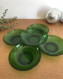 coupes plates à dessert ou petite assiette à gâteau en verre vert Vereco
