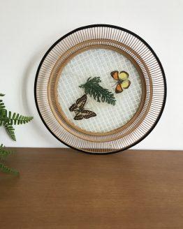 Vide poche en Bambou, verre et ailes véritables de papillon