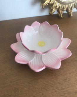 Bol et son assiette Fleur rose