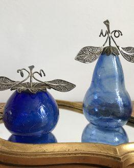 Duo de pomme et poire bleues en verre soufflé craquelé