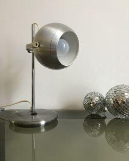 Lampe de bureau Eye Ball vintage en métal brossé