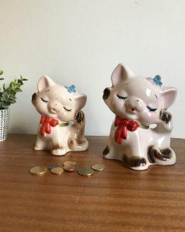 Duo de Tirelires chatons en céramique vintage