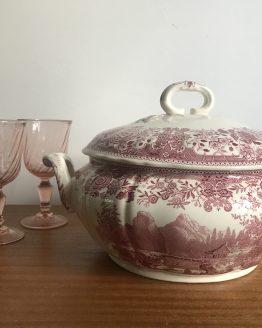 Ancienne soupière décor Burgenland rose en faïence de Villeroy & Boch